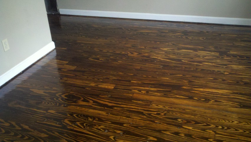 A fixed up, repaired, and shining wood floor