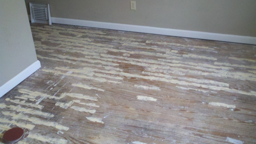A very damaged wood floor surface