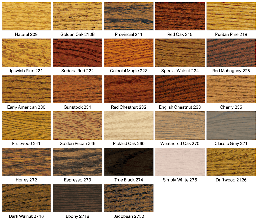 Stain colors we use for different types of wood