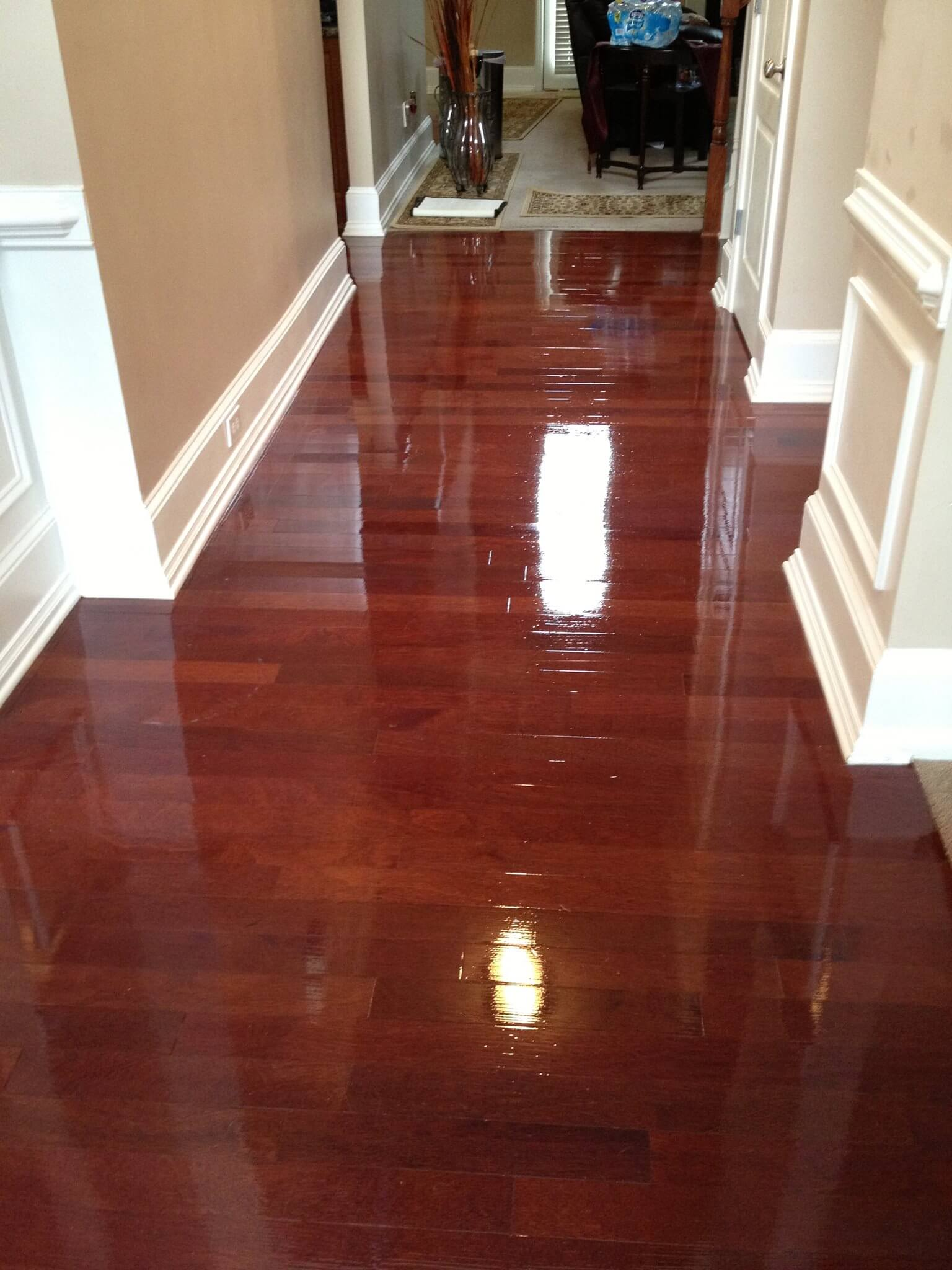 a shined up and refinished hardwood floor.