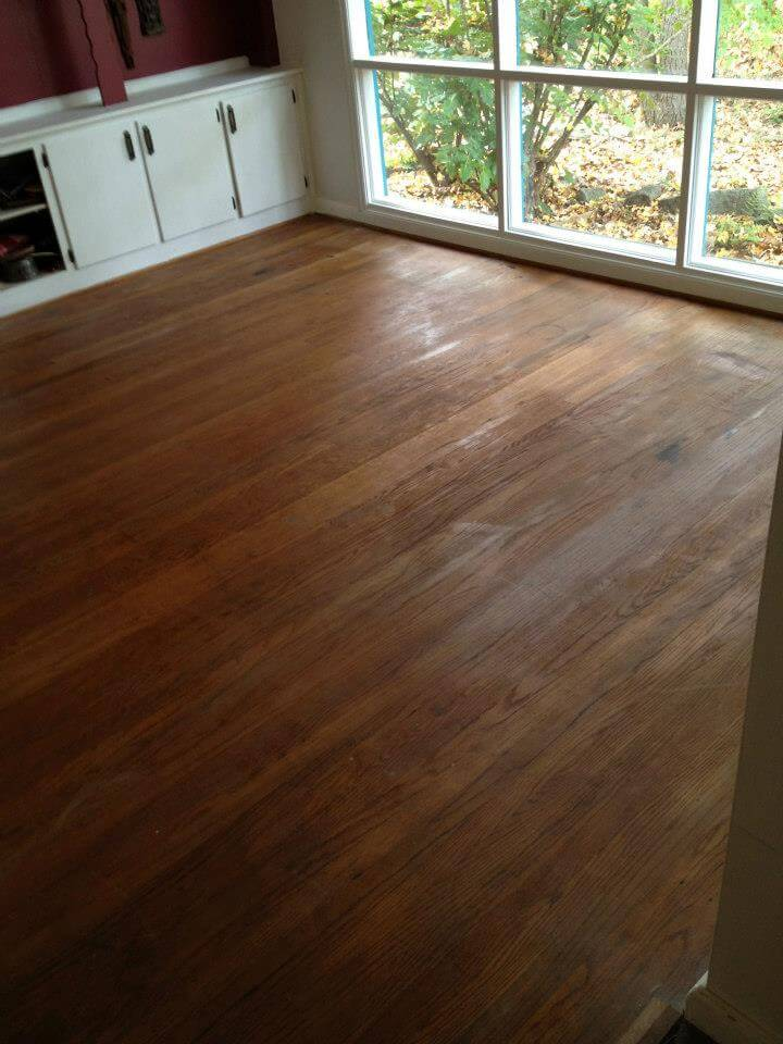 old hardwood floor in a bedroom.