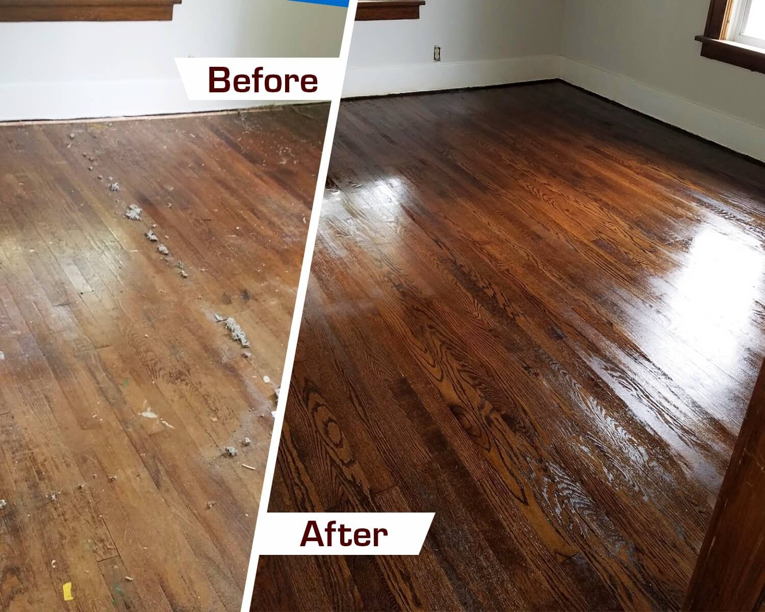 Mt Pleasant SC refinishing hardwood before and after photo