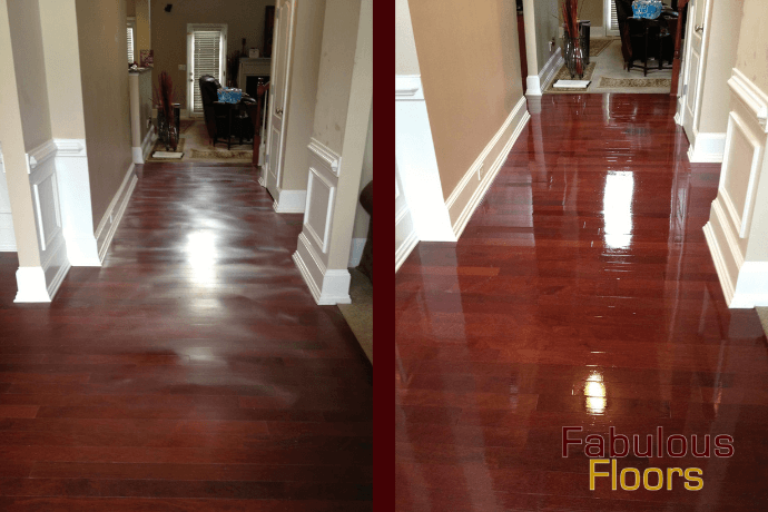 before and after hardwood floor refinishing in Woodhaven, SC