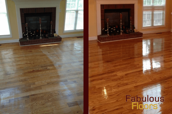 before and after hardwood floor refinishing in charleston, sc